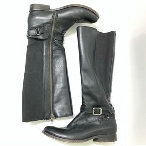 Frye Melissa Gore Black Leather Riding Boots